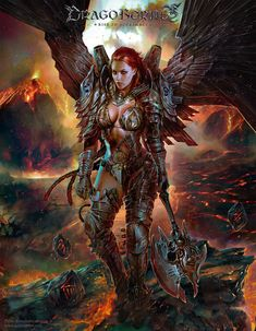 Angel of Destruction by Pablo Fernandez Fantasy Art Village Social Network for Fantasy, Pinup, and Erotic Art Lovers! Fantasy Art Women, Beautiful Fantasy Art, Fantasy Images, Dark Fantasy Art, Fantasy Girl, Fantasy Artwork, Fantasy Female Warrior, Female Armor, Angel Warrior