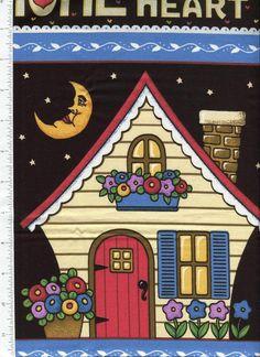 2000 mary engelbreit ~ HOME LOVE FAMILY FRIENDS ~ fabric panel #Cranston
