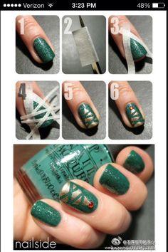 How To Create Christmas Tree Nails