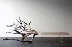 Fallen Tree Bench by Benjamin Graindorge. I NEED this bench. Home Design Diy, Modern House Design, Interior Design, Modern Man, Rustic Modern, Creative Design, Benjamin Graindorge, Driftwood Furniture, Driftwood Table