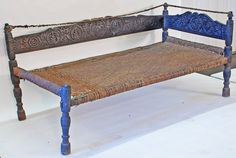 RB1027X-Antique Bed from Swat Valley, Pakistan, circa 1850-1875, Charpoi Pakistan, Cedar (Nanmu), An: Amazon.co.uk: Kitchen & Home