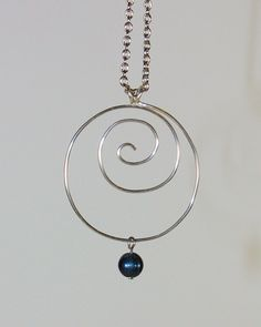 Silver Spiral Pendant with Interchangeable Charms, necklace, Shell Bead, Fresh Water Pearls, Sodalite Gemstone Dangle on Etsy, $25.03 CAD