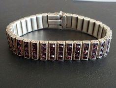 Signed STERLING Silver 925 Antique Art Deco Vintage Bracelet Amethyst 1092