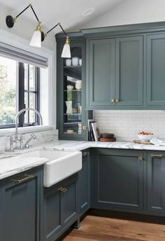 Modern Kitchen Trends 2019 Bringing Two Tone Wood Cabinets. Top Kitchen Color Trends For 2019 Kitchen Color Trends . Modern Kitchen Design Trends 2019 Two Tone Kitchen Cabinets. Home and furniture ideas is here Green Kitchen Cabinets, Kitchen Cabinet Colors, Kitchen Colors, Blue Green Kitchen, Black Cabinets, Wood Cabinets, Kitchens With Painted Cabinets, Kitchen Backsplash, Kitchen With Dark Floors