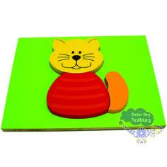Quebra Cabeça de Madeira, Quebra Cabeça Baby Gato, Quebra Cabeça Pipoquinha, Brinquedos Pipoquinha, Brinquedos Educativos, Quebra Cabeça Baby Gato