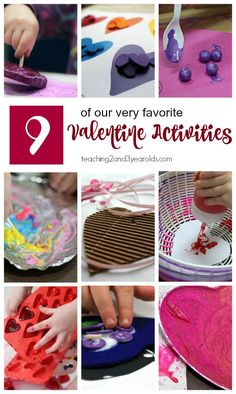 9 hands-on and fun Valentine's activities that preschoolers love! Includes sensory, art, color recognition, and fine motor. Valentines Day History, Valentines Day Cards Diy, Valentine Theme, Valentines Gifts For Boyfriend, Valentines For Kids, Valentine Crafts, Valentines Hearts, Valentine Ideas, Valentine Nails