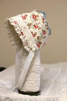 Red Rose  Forget-Me-Not Baby Bonnet. $32.00, via Etsy.