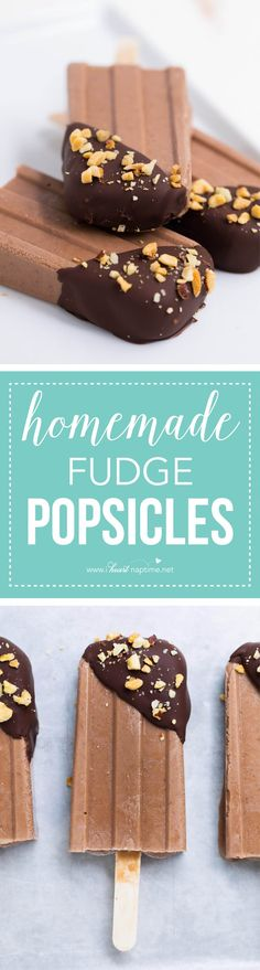 Easy homemade fudge popsicles -made with only 5 ingredients! Super creamy and delicious. The perfect summer treat! Made with @yoplait #ad