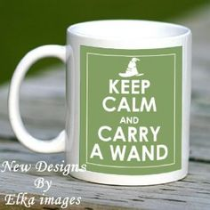 KEEP CALM AND CARRY A WAND HARRY POTTER GREEN MUG CUP, NEW UNIQUE DESIGN - J K ROWLING GREAT GIFT