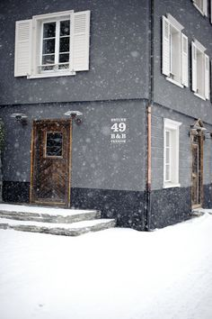 Snow ... and inside there simply must be comfy sofas next to roaring fires and piles of books ...