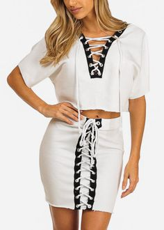 a26ac665869 White Lace Up Skirt With Matching Short Sleeve Crop Top SET in Rompers