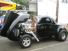 This 41 Willys is a dream come true for Marty after loving the 41 Willys body style for his whole life. Now this Willys hot rod tears it up gasser style Hot Rod Trucks, Old Trucks, Classic Hot Rod, Classic Cars, Rat Rods, Custom Radio Flyer Wagon, Vintage Race Car, Us Cars, Drag Cars