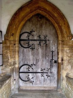 Ancient church door at Easton Maudit, Bedfordshire, England