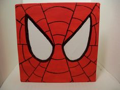 Spider-Man Square Canvas Painting - Kaleb's next room just might be super hero themed! How cute would it be to do Batman, Spiderman and Super man!