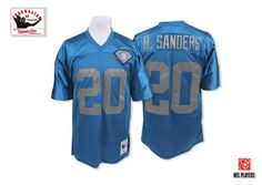 Mitchell and Ness Detroit Lions #20 Barry Sanders Blue with 75 ...
