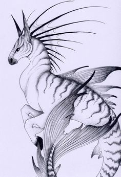 Hippocamp/Hippocampus - a mix of a horse and a fish, in this specific case the horse is a zebra - Greek and Etruscan Mythology; The Hippocampi were said to be Poseidon's horses and they could emerge from the sea. The sea-horses were believed to pull their God's chariot. #hippocamp #hippocampus #zebra #horse #poseidon #mythology