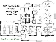 Midsize Country Style House Plan, great size for either moving up or downsizing.