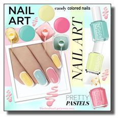 """Pastel Nails: Triple Delight"" by theseapearl ❤ liked on Polyvore featuring косметика, Essie, BeautyTrend, nailart, pastelnails, beautyset и candycolorednails"