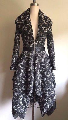 Bebe Anastasia Layered Jaquard Leather Coat #bebe #SwingCoat