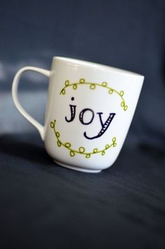 Joy Coffee Mug  Unique Coffee Mug  Hand Painted by EverydaySummit $14.00