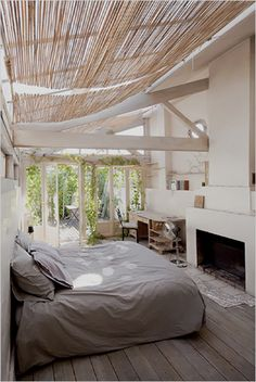 airy, natural, organic, modern, rustic, bedroom, fireplace, open, windows, wood, white