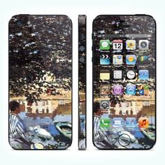 """Виниловая наклейка для iPhone 5 """"River Scene at Bennecourt, Seine"""" купить в интернет-магазине BeautyApple.ru."""