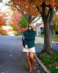 Cozy Cableknit + Brown Leather Boots + Blackwatch Plaid Tote