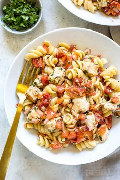 This Instant Pot Bruschetta Chicken Pasta is a delicious one pot pasta recipe that's perfect for summer and high in protein! And it comes together in less than 30 minutes thanks to your pressure cooker!