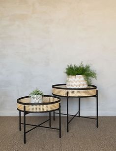 This set of two side tables are perfect for tapping into the Japandi trend. We love how the contrast of natural rattan and black iron create a look that works with several different interior schemes. The table tops can be removed to use as trays. Retro Side Table, Side Table Decor, Wooden Side Table, Table Decorations, Side Tables, Side Table Styling, Dining Tables, Coffee Table Furniture, Rattan Coffee Table
