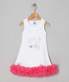 White Rhinestone 'Pre-K Rocks' Dress - Toddler & Girls by Sue Berk Designs on #zulily