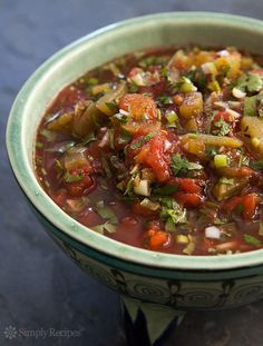 Simple Green Chile Tomato Salsa ~ Quick and easy tomato and green chile salsa, with canned cooked tomatoes, green chiles, scallions, garlic, oil, vinegar, oregano, and cilantro. ~ SimplyRecipes.com