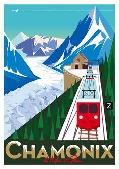Chamonix Mont-Blanc Poster | Montenvers Mer de Glace | Illustration Richard Zielenkiewicz