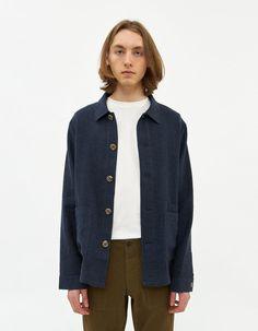 Nanushka Men's Elam Twill Overshirt in Navy, Size Large Need Supply Co, Sweater Shirt, Long Sleeve Shirts, Free Shipping, Coat, Model, Jackets, Blue, Design