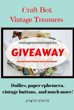 4 bloggers join together to GIVE AWAY boxes full of craft supplies and vintage treasures. Free shipping too! One winner per box. Sign up on the blog. via @VSPicks
