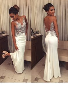 Ivory Mermaid Prom Dresses Appliques Open Back – slayingdress Open Back Prom Dresses, Homecoming Dresses, Wedding Dresses, Ball Dresses, Ball Gowns, Applique Dress, Formal Gowns, Marie, Prom Dresses
