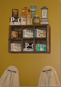Love all of the old products displayed in a crate.