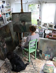 We made a corner of the Shoppe just exactly like Bobbie Russon's studio. She is here having a wonderful time inspiring young artists.......