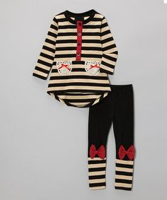 Black & White Stripe Hi-Low Tunic & Bow Leggings - Toddler & Girls by Miss B Clothing #zulily #zulilyfinds