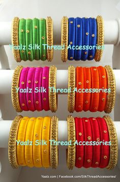 Yaalz Simple Set Bangles In Assorted Colors! Price For Orders Ping us In WhatsApp 8754032250 Silk Thread Bangles Design, Silk Thread Necklace, Silk Bangles, Beaded Necklace Patterns, Bridal Bangles, Thread Jewellery, Jewelry Patterns, Paper Quilling Earrings, Handmade Wire Jewelry