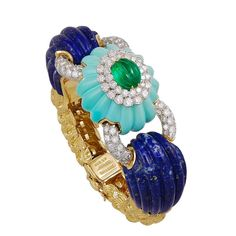 DAVID WEBB Two Tone Diamond, Lapis, Turquoise and Emerald Bangle | From a unique collection of vintage bangles at https://www.1stdibs.com/jewelry/bracelets/bangles/