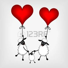 Two sheep and little lamb hanging on red balloons - hearts on gray background - vector illustration photo