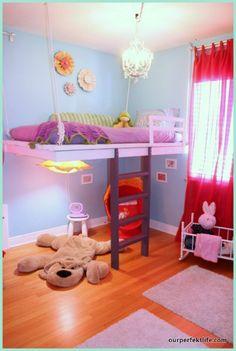 Hanging loft bed for little girl's room