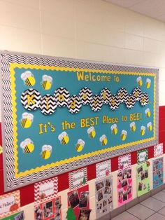 Back to school Kindergarten bee bulletin board- chevron paper plates from Walmart back diecut letters. I left up last year's class timeline for Open House (below bulletin board) so parents could get a snapshot of what each month holds in store for us in Bee Bulletin Boards, Kindergarten Bulletin Boards, Back To School Bulletin Boards, Classroom Bulletin Boards, Kindergarten Classroom, Kindergarten Orientation, Chevron Classroom, Bullentin Boards, Toddler Classroom