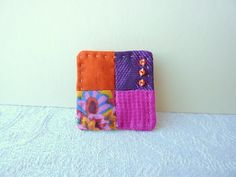 Little Four Patch Hand Sewn Textile Brooch - Hot Pink, Orange and Purple £10.00