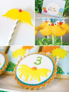 Love the Lorax staches!  Colorful Dr. Seuss The Lorax Themed Birthday Party