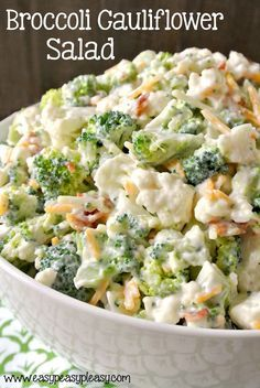 Enjoy this deliciously sweet and easy Broccoli Cauliflower Salad. Make it for a … Enjoy this deliciously sweet and easy Broccoli Cauliflower Salad. Make it for a crowd or half the recipe for a family night side dish. Veggie Dishes, Vegetable Recipes, Food Dishes, Veggie Salads Recipes, Brocolli Side Dishes, Vegetable Recipe For A Crowd, Cold Vegetable Salads, Easy Vegetable Side Dishes, Vegetarian Side Dishes