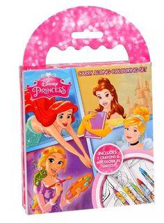 Disney Princess Carry Along Colouring Pad & Crayons Mini Kids Travel Pack Art  | eBay