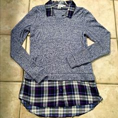 For @sanmagnoyip21 Sweater/ top in Marled blue and plaid Tops