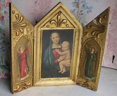 Beautiful Florentine Religious Triptych by FrontStreetAntiques, $29.00