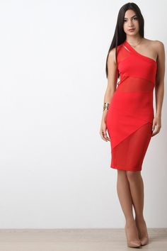 Asymmetrical One Shoulder Mesh Panel Midi Dress